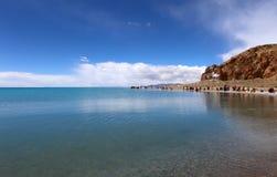 湖在Nam Co,西藏 图库摄影