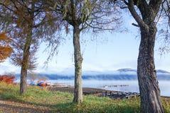 湖山中在清早,日本的风景 免版税库存图片