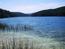 湖岸五颜六色和充满活力的风景  平静的风景有用作为背景 降低湖峡谷 Plitvice湖nationa 库存照片