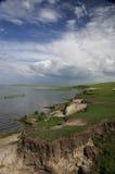 湖岸在呼伦贝尔草原 免版税库存图片
