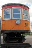 从湖岸电铁路的列车车箱 库存图片