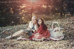 湖岸的两个姐妹 免版税库存照片