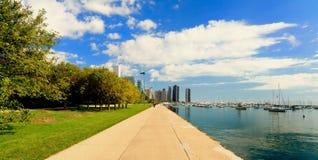 湖岸芝加哥街市线索 免版税库存图片