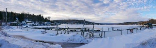 湖岸结冰的全景 免版税图库摄影