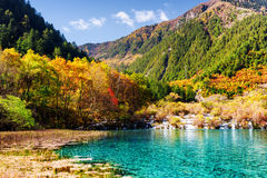 湖惊人的看法有天蓝色的水和落下的瀑布的 图库摄影