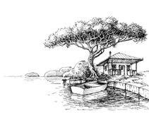 湖或河岸图画 皇族释放例证