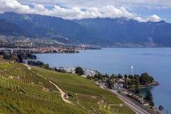 湖日内瓦-洛桑-瑞士 库存图片