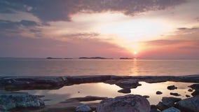 湖日落晚上暮色红色 影视素材