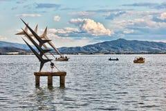 湖日落trasimeno翁布里亚 库存照片
