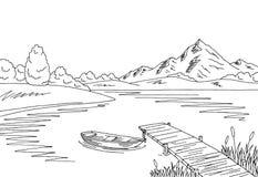 湖桥梁图表黑白色风景剪影例证 库存照片