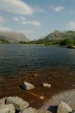 湖横向llanberis威尔士 库存照片