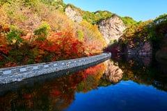 湖水和秋天山 库存图片
