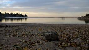 湖沙子秋天内布拉斯加海湾 库存图片