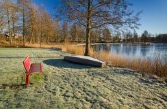 湖海岸风景在12月 库存照片