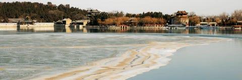 湖熔化的表面 库存图片
