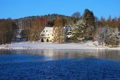 湖的冬天视图 免版税库存照片