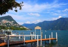 湖的卢加诺,瑞士镇 免版税库存图片