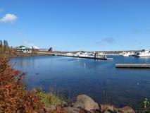 湖的小游艇船坞 库存照片