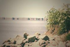 湖的岩石海岸线 免版税库存照片
