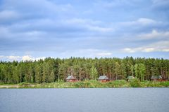 湖的房子在日落的一个杉木森林里 免版税库存照片