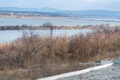 湖的看法在中午 雾和寒冷 免版税库存图片