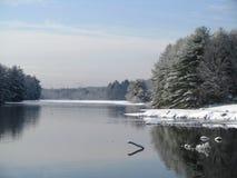 湖的看法在冬天 库存图片