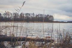 湖的看法在秋天 库存图片
