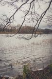 湖的看法在秋天 免版税图库摄影
