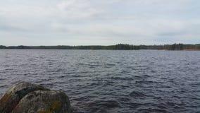 湖的看法有哀伤的大气的 免版税图库摄影
