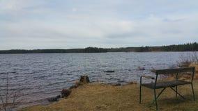 湖的看法有哀伤的大气的 免版税库存图片