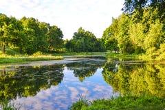 湖的美丽的景色 在美丽的鸟云彩之上颜色及早飞行金子早晨本质宜人的平静的反映上升海运一些星期日 夏天 俄国 假定大教堂dmitrov克里姆林宫莫斯科明信片区域俄国冬天 图库摄影