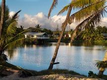 湖的议院, Waialua海湾Haleiwa港口夏威夷 免版税图库摄影
