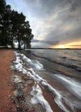 湖的通知sunset2的 库存照片