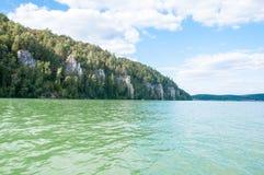 湖的银行的森林 免版税库存图片