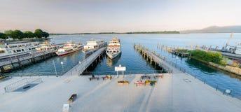 湖的Chiemsee船坞 库存图片