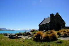 湖的Tekepo新西兰教会 免版税库存图片