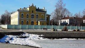 湖码头的老房子在春天城市 影视素材