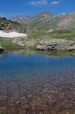 湖福尔科拉-在福尔科拉通行证附近的高山湖-利维尼奥,意大利 库存照片