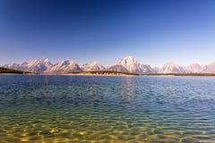 湖纹理和Teton范围 库存图片