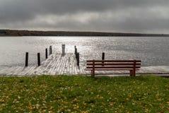 湖菩提树在一张风暴日俯视的小船船坞和公园长椅的密西根上半岛 免版税库存照片