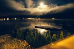 湖视图在晚上 免版税库存照片