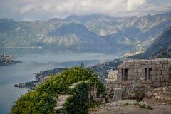 湖视图,科托尔,黑山 图库摄影