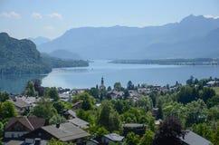 湖视图,萨尔茨堡,奥地利 免版税图库摄影