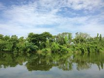 湖边风景用清楚的水 免版税库存图片