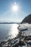 湖银行在冬天 免版税库存照片