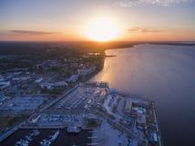 湖门罗鸟瞰图在桑福德佛罗里达 免版税库存照片