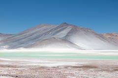 湖阿瓜calientes或撒拉族de Talar在智利阿塔卡马高原 图库摄影