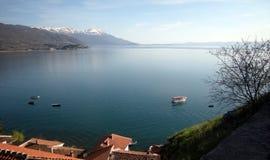湖马其顿ohrid 免版税库存照片
