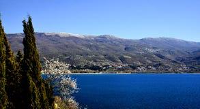 湖马其顿ohrid 库存照片