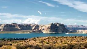 湖鲍威尔在犹他和亚利桑那之间的水库水坝 股票录像